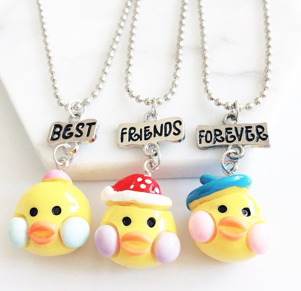 """3PCS/Lot Kids """"Best Friends Forever"""" Necklace Yellow Duck Pendants BFF Necklaces For Children Friendship Necklace Jewelry"""