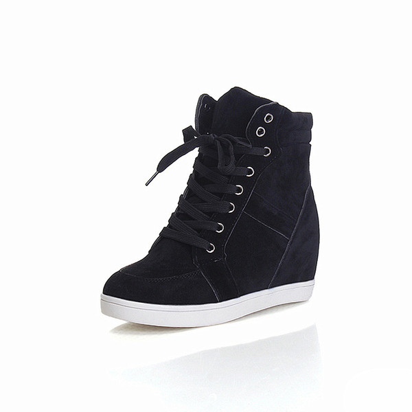 Spring autumn Women Boots faux suede Leather Wedges Platform Boots Hidden Heel Shoes High Top Sneaker Casual Shoes For Woman ankle Boots