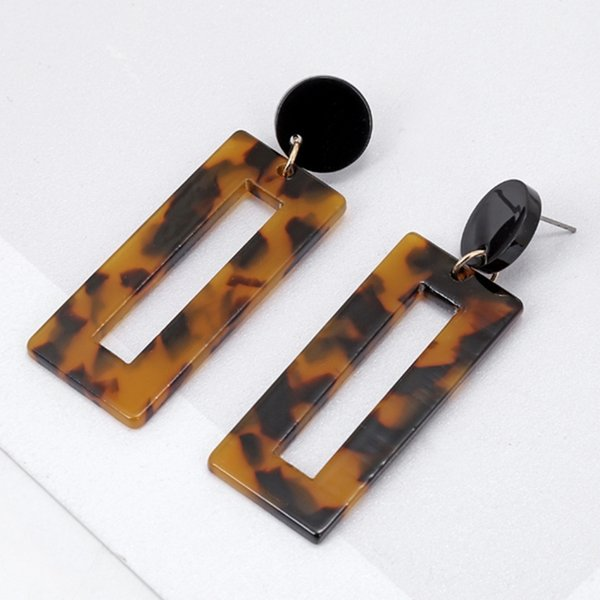 Acrylic Resin Round 1 Pair Vintage Multi Color Square Acrylic Drop Earring For Women Fashion Jewelry