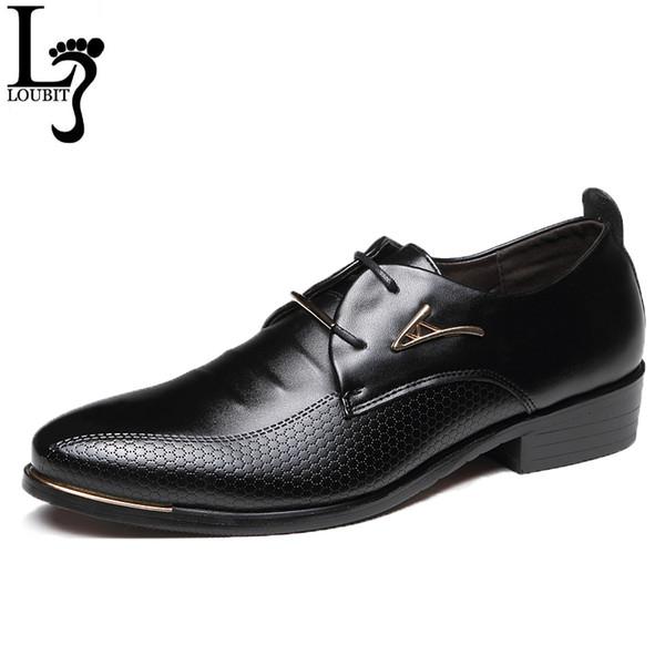 Chaussures habillées pour hommes Mode bout pointu à lacets Business Chaussures décontractées Brown Black Leather Oxford Chaussures Big Size 38-48