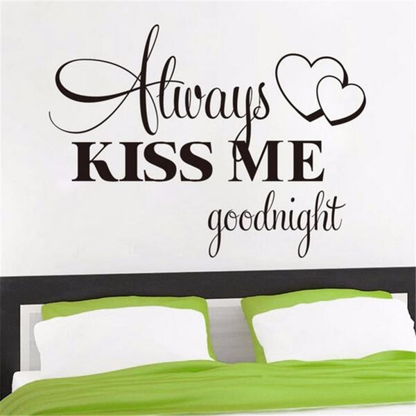 Romantic Mural Love Vinyl Wall Stickers Bedroom Quotes Decals Always Kiss  Me Goodnight Home Decoration Wall Art Decor 42*57cm Girls Bedroom Wall ...