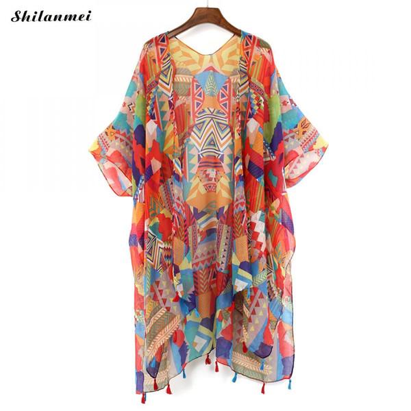 2018 Renkli Bluz Ceket Üst Yaz Şifon Bluz Retro Boho Çiçek Dantel Hırka Hippi Kimono Hırka Üstleri Kadın
