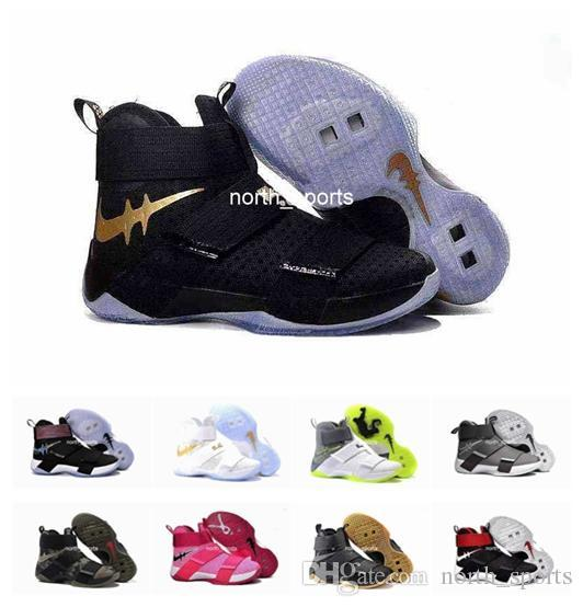 low priced 25307 2f64c Cheap 2018 Cheap Lebron Soldier 10 X Men Basketball Shoes Lbl Lebron  Soldiers Shoes Black White Championship Limited Edition Lebrons Running  Shoes ...