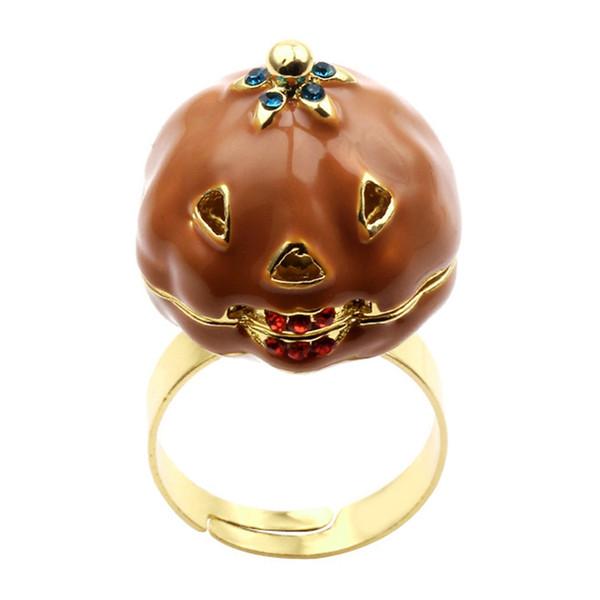 NEW Fashion Halloween Ring Retro Pumpkin Open Ring For Women Elegant Plant Rings Adjustable Halloween Horror Jewelry