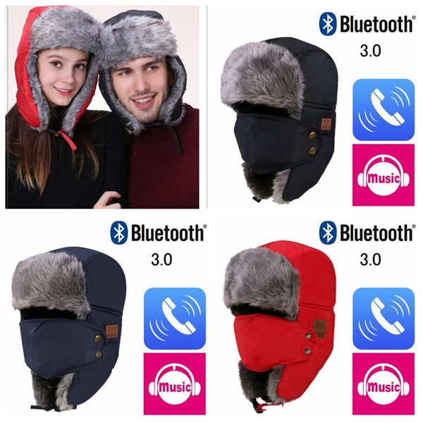 Herbst Winter drahtlose Bluetooth Smart Cap Headset Kopfhörer Lautsprecher Mic Bluetooth Hut warme Beanie Hut MMA771