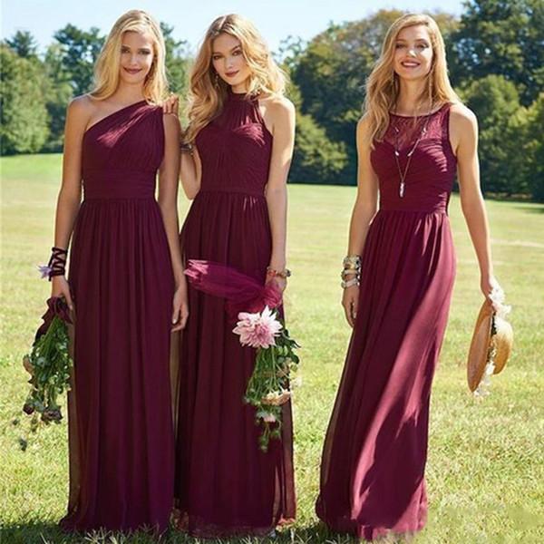 Burgundy Bridesmaid Dress A Line Chiffon Pleats One Shoulder Sash Sleeveless Floor Length Vestidos De Maid Of Honor Dress For Wedding Guest