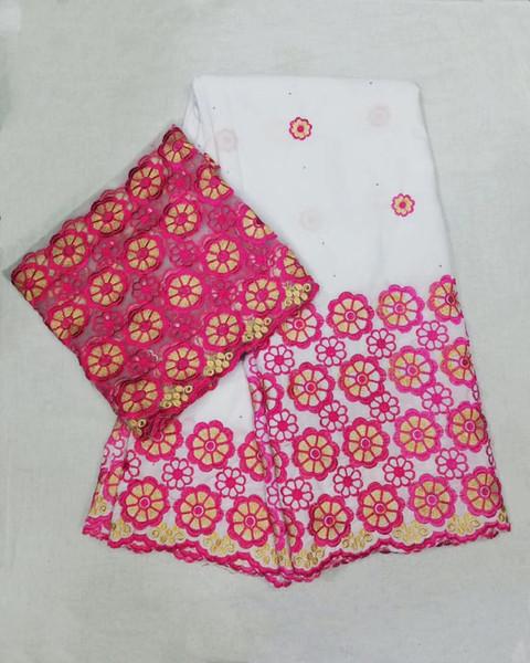 TRY1020 (5 + 2 yards / set) yüksek kaliteli beyaz ve fushia pembe Afrika pamuk dantel kumaş nakış artı eşarp ile dantel için elbise