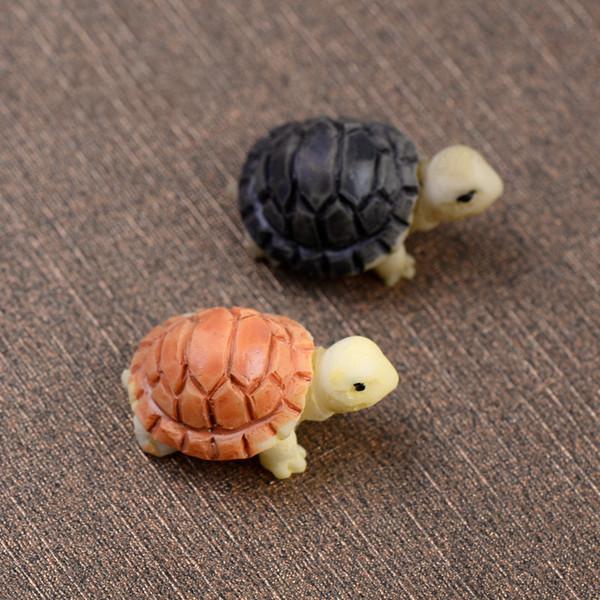best selling Turtle Fairy Garden Miniature Mini animal Tortoise resin artificial craft bonsai Garden Decoration 2cm 2 colors DHL Free Shipping