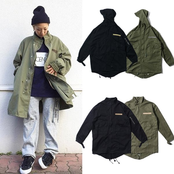 Men Women Fashion Long Jacket Trench Coat Zip-Up Hooded Jackets High Quality Cotton Jacket Hip Hop Streetwear BFSH0812