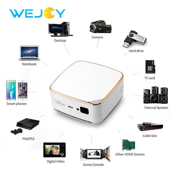Wejoy Android 6.0 DL-S8 + El Cep Mini LED Projektör WiFi BT DLP Beamer AirPlay Miracast Ev Sineması Taşınabilir Pico