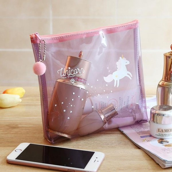 Fashion Unicorn Travel Make Up Case Women Transparent Cosmetic Bag Zipper Makeup Beauty Wash Organizer Toiletry Storage Kit Box