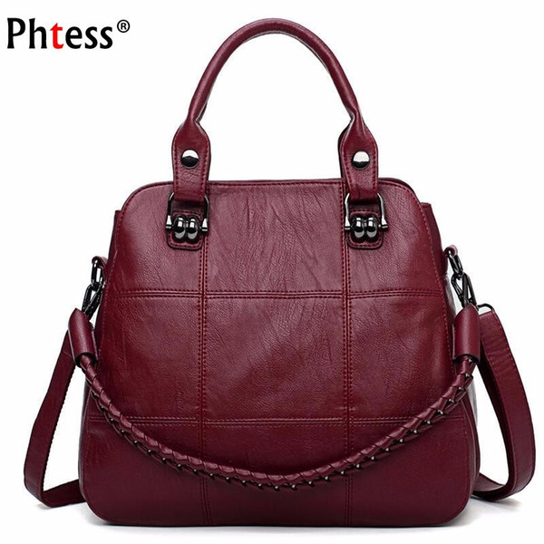 2018 Luxury Handbags Women Bags Designer Female Soft Leather Shoulder Bag Vintage Ladies Hand Bags Casual Tote Bag Sac A Main