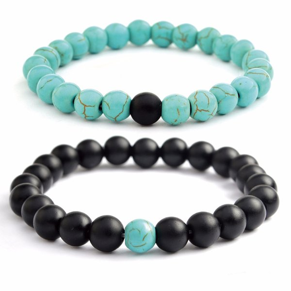 bf9335065fcc9 2019 Long Distance Relationship Bracelet For Couples Blue And Black Beads  Bracelet Set Dropshipping From Mudiaolan, $19.96 | DHgate.Com