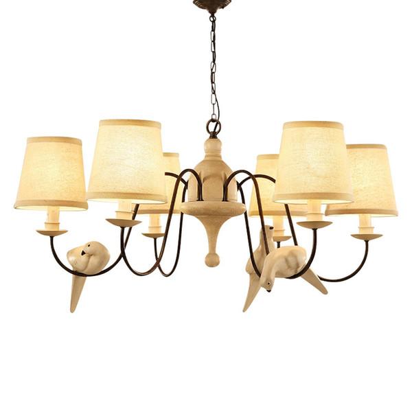 Pájaros Lámpara LED Lámpara de araña Pantallas de lino E14 1/3/6/8 cabezas Candelabros de tela blanca para sala de estar Accesorios de iluminación para el hogar F070