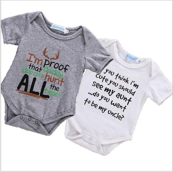 Boutique ins modèles explosifs 2018 Nouvelle lettre de bébé vêtements pour enfants Imprimer manches courtes en coton Romper vêtements d'escalade H021