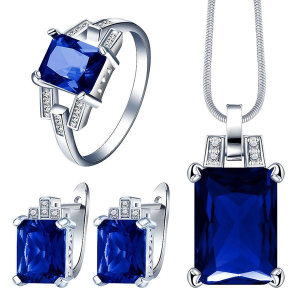 created red cz jewelry set for wedding bridal gift fashion women crystal necklace earring ring Silver color jewelry
