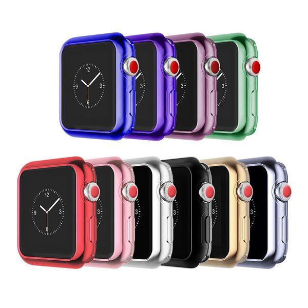 Funda protectora de electroplaca para Apple Watch Serie iWatch 1 2 3 38mm 42mm 40mm 44mm Galjanoplastia Silicona suave Caseshell combinación perfecta 10 color