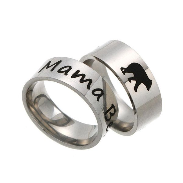 Edelstahl Mama Bär Ring Emaille Cubs Mutter und Kinder Band Ring Brief niedlichen Tier Ringe Modeschmuck für Mama Geburtstag Drop Ship