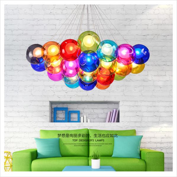 Led lustre Nordic criativo colorido bolha bola sala de estar lâmpada moderna e minimalista corredor restaurante quarto lâmpada avize