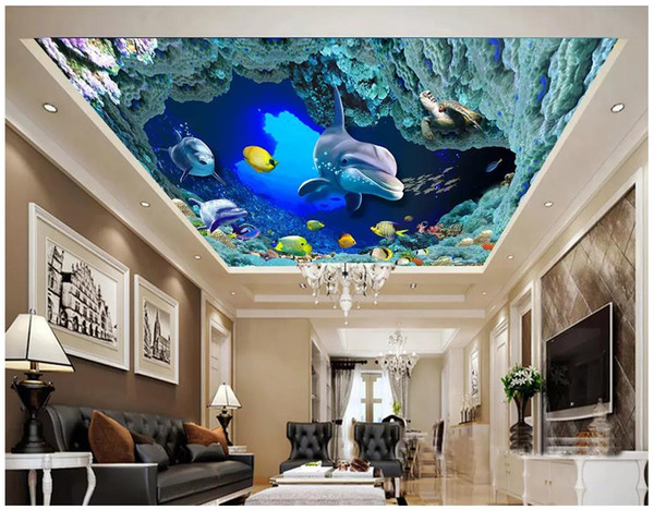 Custom Photo Wallpaper 3d Ceiling Murals Wallpaper Fish Group Sea World  Living Room Bedroom Ceiling Zenith Mural Wallpaper For Walls 3d Pc Desktop