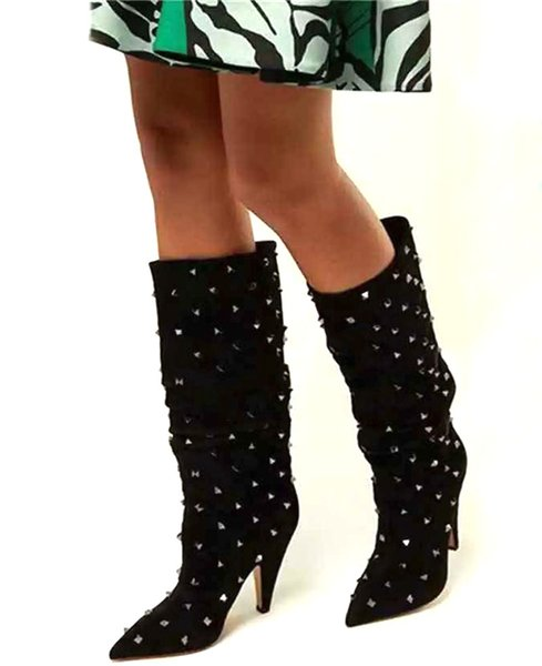 Sexy Ladies Full Metal Rivets Studs Knee High Boots Spike High Heels Pointed toe Black Suede Slip on Female Boots for Ladies