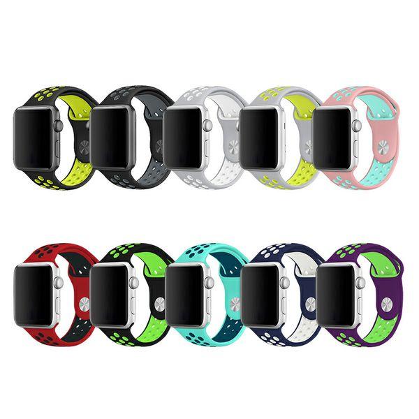 Für Apple-Uhr-Bügel 1 2 3 Generat 19 Farbsport-Bügel Breathable zwei Farbspritzen-Band-Bügel-Armband für intelligente Uhr