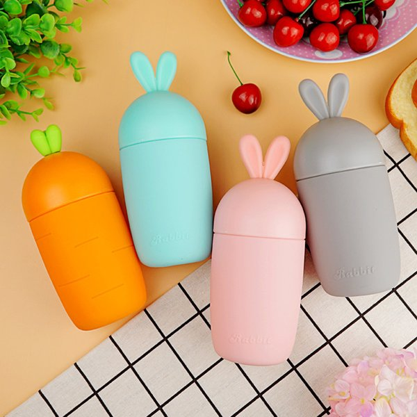 300ml Cartoon Rabbit Shape Glass Water Bottle Kids Cute Silicone Sleeve Children Leak -Proof Drinking Tumbler