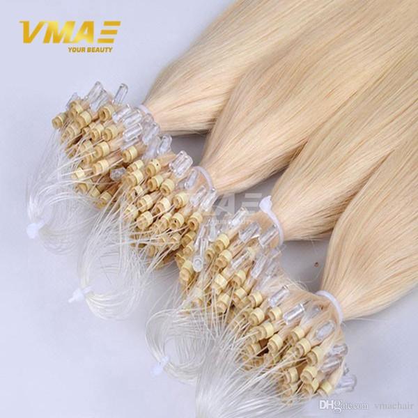 Mikroschleife-Ring-Haar-Verlängerungen 100% unverarbeitetes reines peruanisches Menschenhaar-seidige gerade Mikroschleifen 1g / Strang 100s / pack VMAE-HAAR