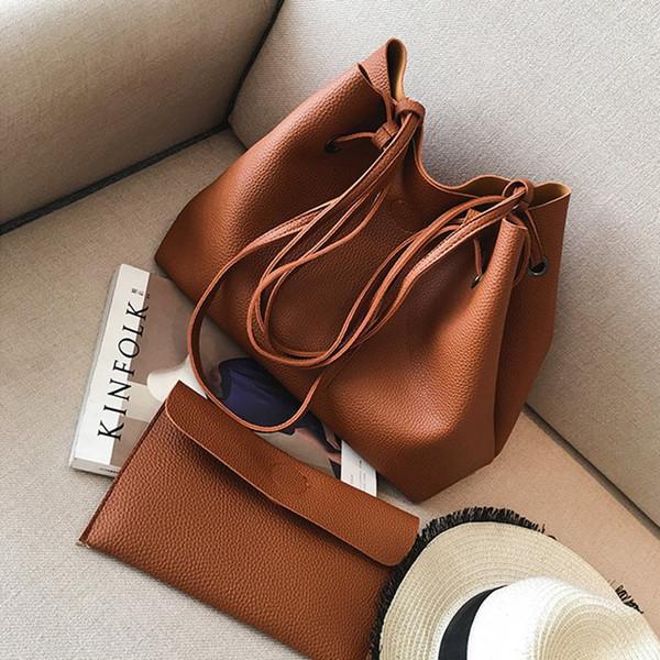 Osmond Hand Bag Set Women Brown Bags Large Capacity 2 Bags Set Bucket Handbag Top Handle Shoulder Bag Ladies Tote Bolsa Feminina
