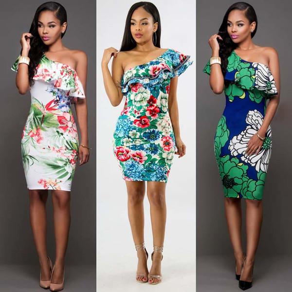 New Summer Women Sexy Fashion Ruffle Dress One Shoulder Elegant Party lLady Clothing