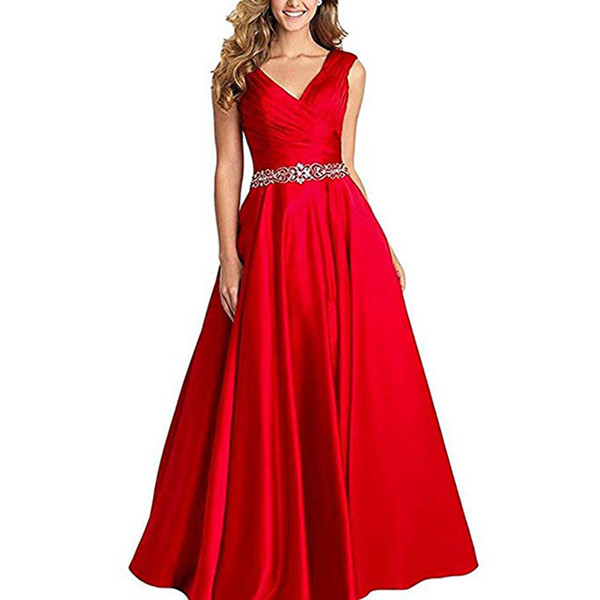 Sexy V-nekc Long Prom Dresses crystal beaded Pleats Evening Party Dress Prom Formal Gowns Women Wear