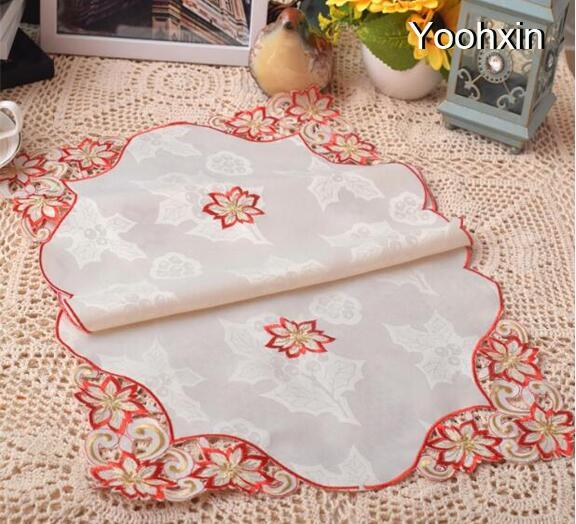 Modern lace embroidery table place mat pad cloth cup glass dining doily pot mug holder drink coaster Christmas placemat kitchen