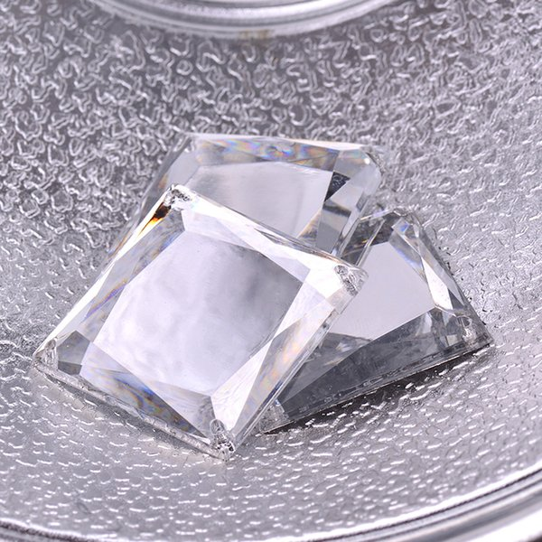 JUNAO 35mm Big Clear White Crystals Sew On Square Rhinestones Appliques Flatback Mirror Stones Sewing Acrylic Crystal Strass