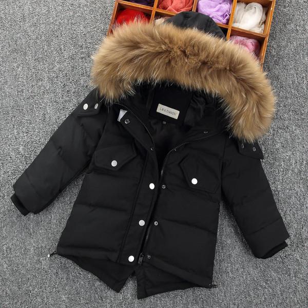 Großhandel Winter Daunenjacke Parka Mädchen Fell Kapuze Verdicken Mäntel Gefüttert Warme Kinder Kleidung Schnee Tragen Kinder Oberbekleidung Von