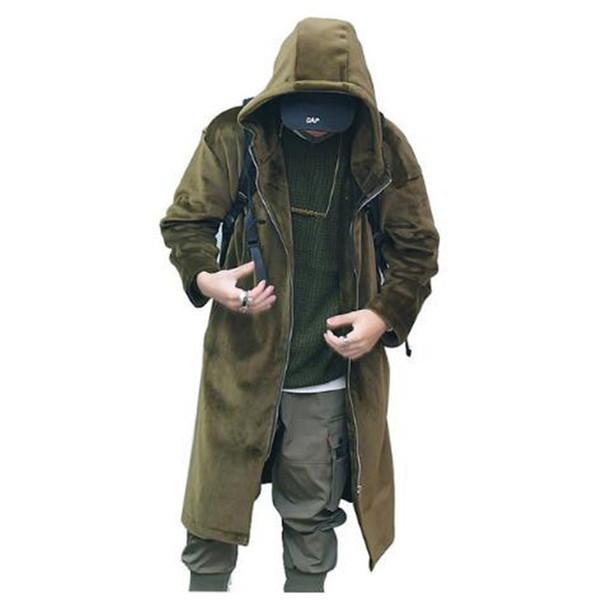 High Street Trincheira Casaco Homens De Veludo Grosso Com Capuz Jaqueta Longa Moda Masculina Casuais Soltas Blusão Casaco