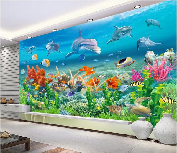 Großhandel 3d Room Wallpaper Tuch Benutzerdefinierte Foto Unterwasserwelt  Dolphin Reef Aquarium Kinderzimmer Hintergrund 3d Wandbilder Wallpaper Für  ...