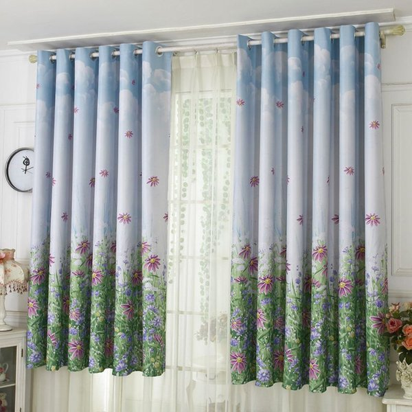 Curtains Drapery French Bay Window Printed Curtain Window Blinds Home Textile Curtains And Tulle Room 100*200cm