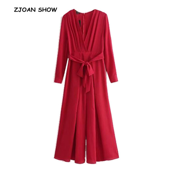 Retro Cross V neck Red Wide Leg Jumpsuit 2018 Woman Long sleeve Bow tied Sashes Full Length Pants Rompers Bodysuits