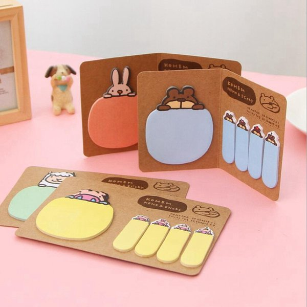 Animal Cartoon Memo Pad Notebooks Writing Kawaii Boy Girl Office School Supplies Stationery Scrapbook Stickers Flags Note Page