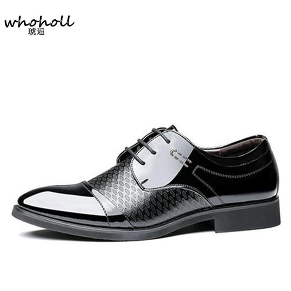 2018 Printemps nouveaux Hommes Chaussures Habillées Pointues Aux Lacets Homme Affaires Marron Noir En Cuir Oxford Chaussures Sculpté Italien Formal Oxford