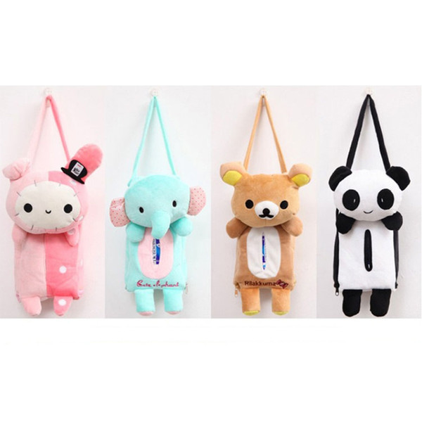 Cute Animal Home Car Tissue Box Container Cartoon Car Back Hanging Tissue Boxes