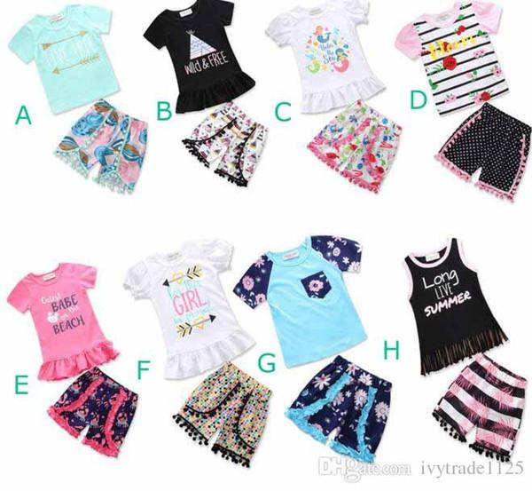 DHL INS neue Mädchen T-Shirt gesetzt Kinder Anzüge Blume Quaste T-Shirt + kleine Ball kurze Mädchen 2 Stück Sets Mädchen T-Shirt kurze Kleidung