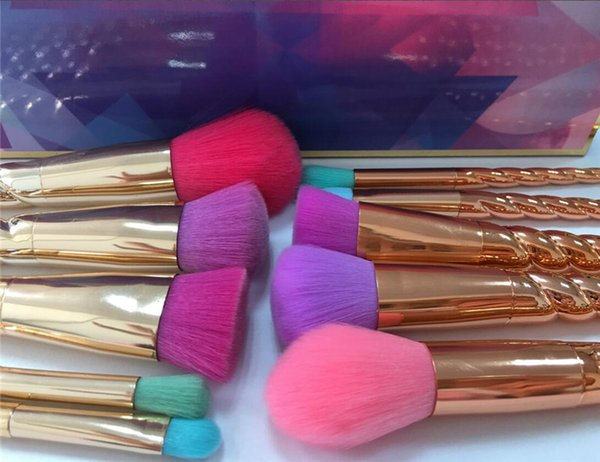 Makeup brushes sets cosmetics brush 5 pcs bright colors rose gold Spiral shank make up tools brush screw Contour Retail box free dhl