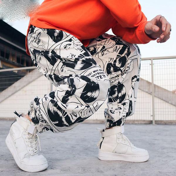 Hip Hop Pantalones Harem Pantalones holgados para hombre Pantalones  estampados gráficos Moda Algodón Streetwear sueltos Pantalones c75f4f2b22a