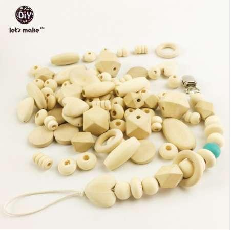 best selling Let's Make 150pc Block Wood & Wooden Beads Diy Pacifier Clip Style Natural Wood Organic Baby Teether Beads
