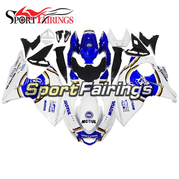 Completi carenature Lucky Strike blu bianche per Suzuki GSXR1000 GSX-R1000 K9 09 10 11 12 - 2016 Carrozzeria iniezione moto ABS Sportbike