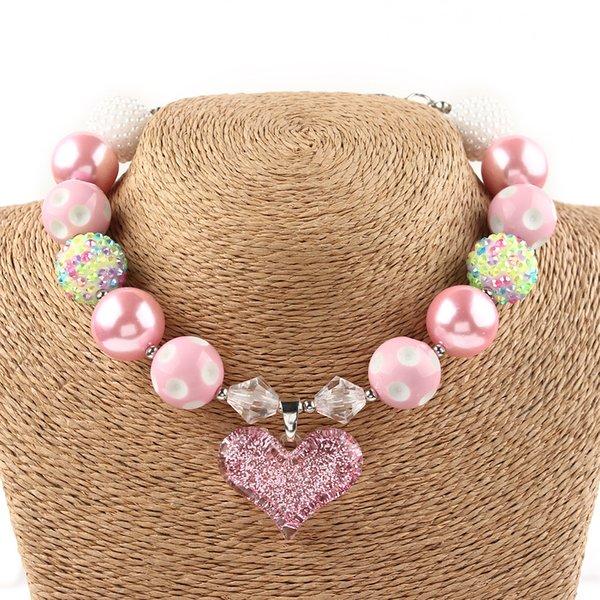 ganze sale20mm Perlen Schöne Kinder Rosa Perlen Chunky Halskette Mode Bubblegum Schmuck Für Kinder Anhänger Halskette