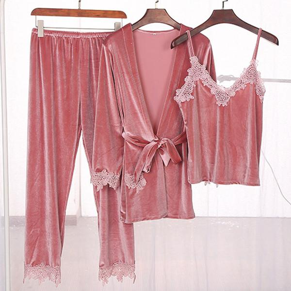 2018 Winter Women Sexy Lace Velvet Pyjamas Pajamas Sets Sleepwear Camisole Tops Robe nightgown Ladies Homewear Pijama femme Pjs