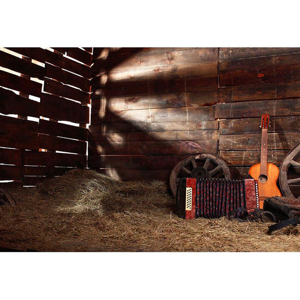 Western Country Cowboy Themed Birthday Party Backdrop Barn Warehouse Straw Guitar Wooden Wall Kids Rustic Photography Background