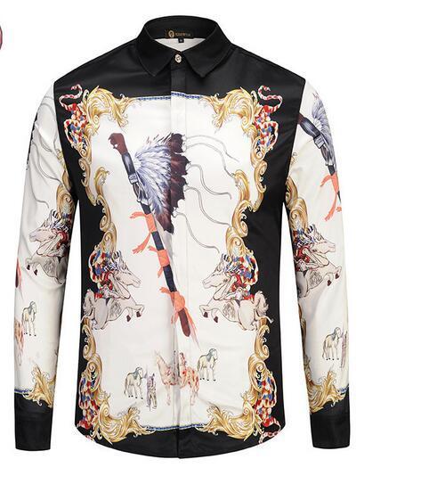 Free Shipping 2018 3D Harajuku Style Printing Harajuku Medusa Gold Chain Print Shirts Retro Floral Men Long Sleeve Tops